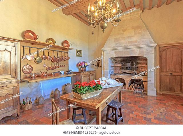 France, Indre et Loire, Loire valley listed as World Heritage by UNESCO, the castle of Villandry belonging to Angelique and Henri Carvallo, the kitchen