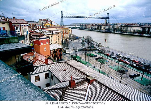 Puente de Bizkaia, unusual bridge across the river in Bilbao. Portugalete. Biscay, Euskadi, Spain