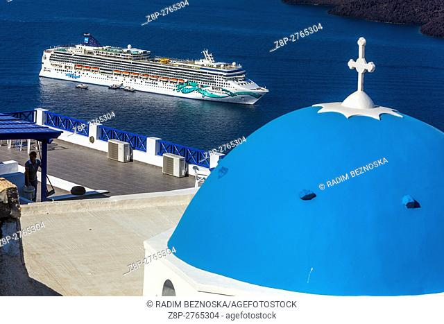 Cruise moored in the caldera, Santorini, Aegean Sea, Cyclades Islands, Greece