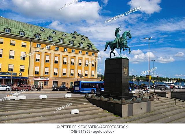 King Charles XIV John Statue at Slussplan square in Gamla Stan the old town Stockholm Sweden Europe