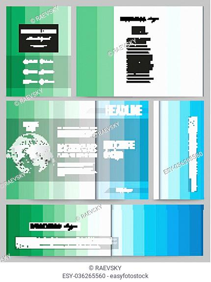Set of business templates for presentation, brochure, flyer or booklet. Abstract colorful business background, blue and green colors
