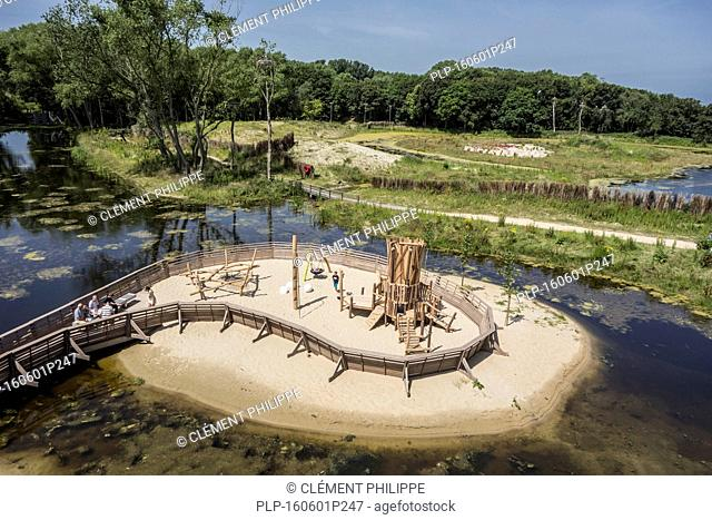 Aerial view over playground at the Zwin Nature Park, bird sanctuary at Knokke-Heist, West Flanders, Belgium