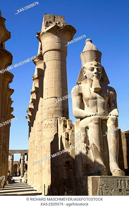 Statue of Seated Ramses II, Court of Ramses II, Luxor Temple, Luxor, Egypt