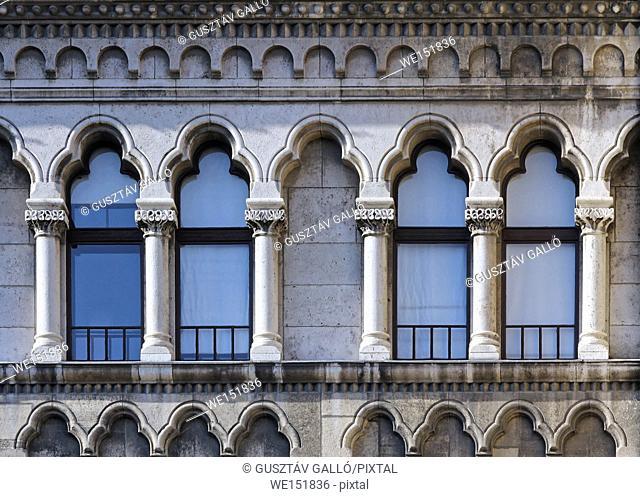 Budapest, Hungary, Buda castle district gothic windows