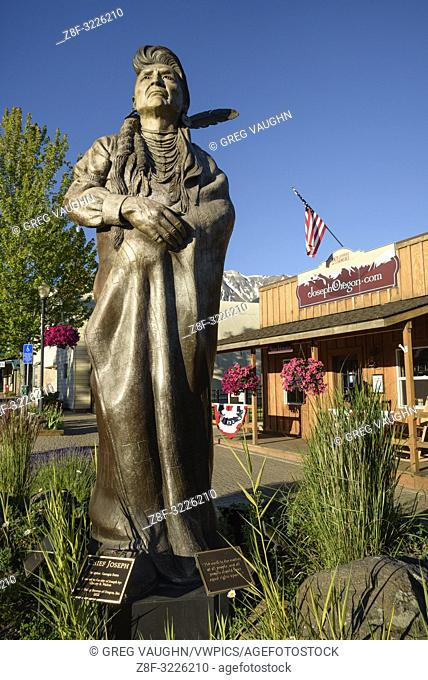 Bronze sculpture of Chief Joseph by Georgia Brown in downtown Joseph, Oregon