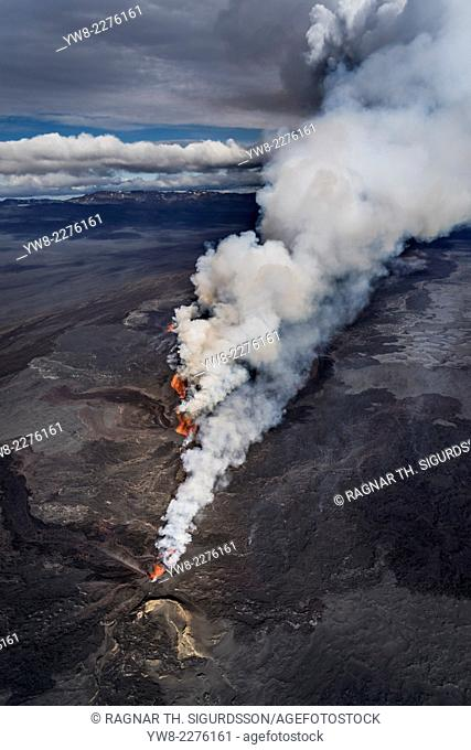Volcano Eruption at the Holuhraun Fissure near Bardarbunga Volcano, Iceland. August 29, 2014 a fissure eruption started in Holuhraun at the northern end of a...