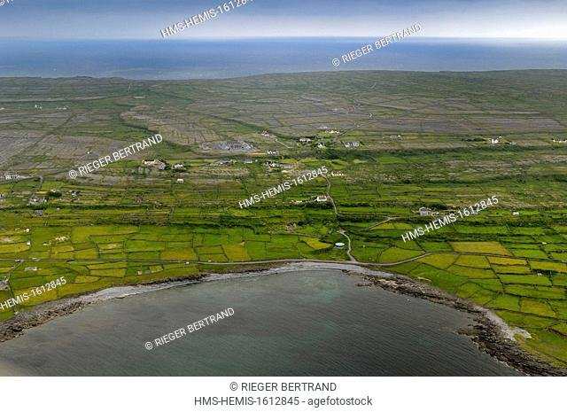 Republic of Ireland, County Galway, Aran Islands, Inishmore (aerial view)
