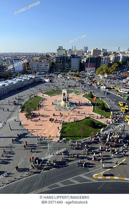 Taksim Square or Taksim Meydani, Independence Monument of Mustafa Kemal Atatuerk