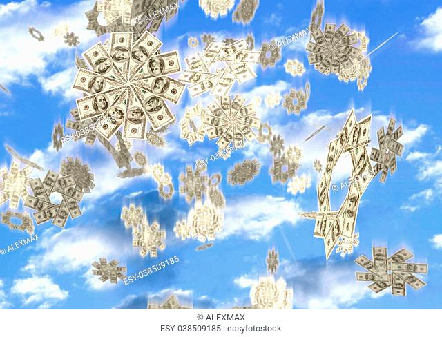 Conceptual 3D illustration of snowflakes made from hundred dollar bills falling from the sky Easy money Lottery prize concept Isolated on white background