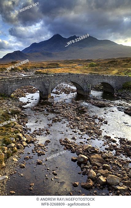 Sligachan Bridge on the Isle of Skye with the Black Cuillin Hills in the distance