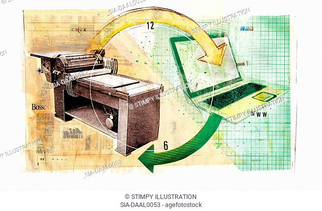 Obsolete printing press and laptop