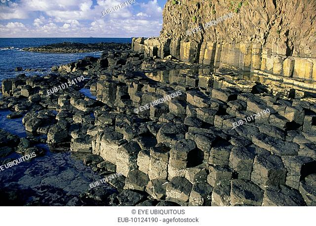 Basalt rock formations on the coastline