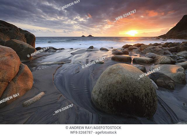 Porth Nanven Beach near St Just in the far west of Cornwall, captured shortly before sunset in late May