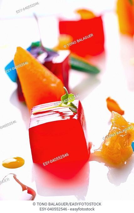 jelly colorful fruits gelatine on white background