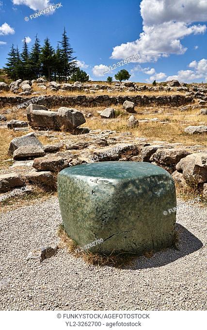 Green polished cult stone of temple I, Hattusa (also Ḫattuša or Hattusas) late Anatolian Bronze Age capital of the Hittite Empire