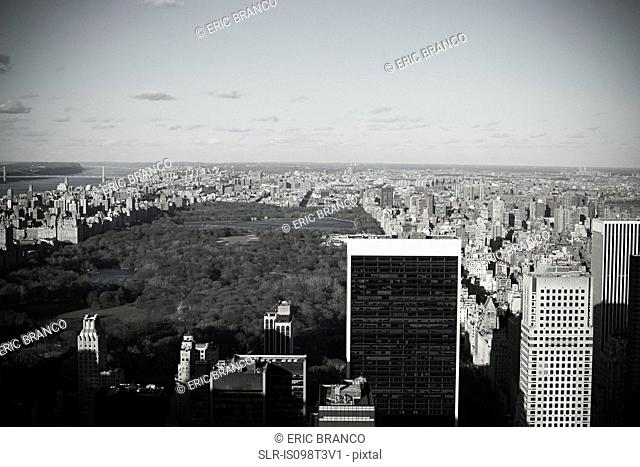 HIgh angle view of central park new york