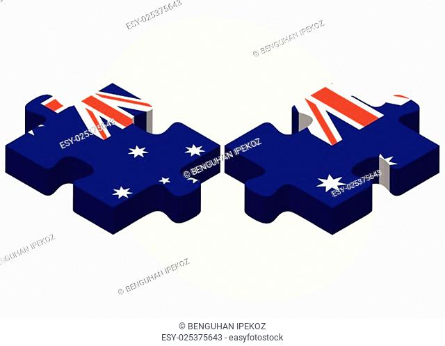 Vector Image - Australia and Australia Flags in puzzle isolated on white background.