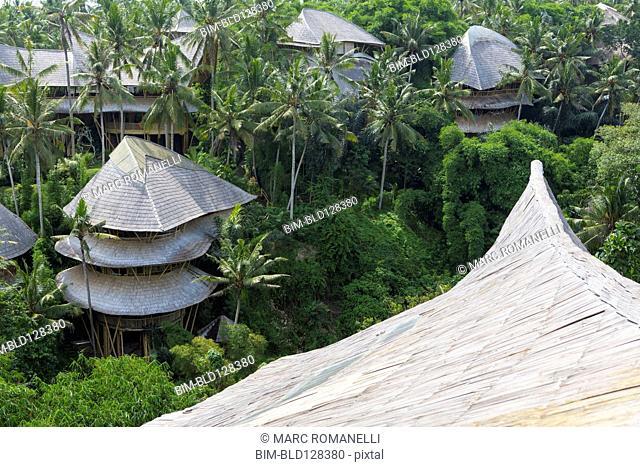 Treehouse rooftops of tropical hotel, Ubud, Bali, Indonesia