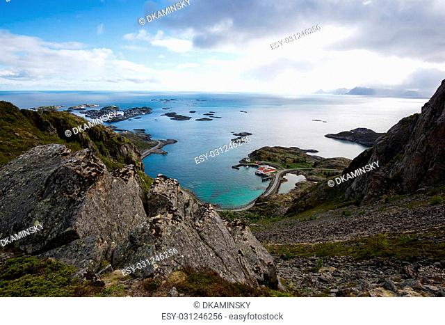 Bird's-eye view from a mountain on Lofoten Islands, Norway. Nature photography