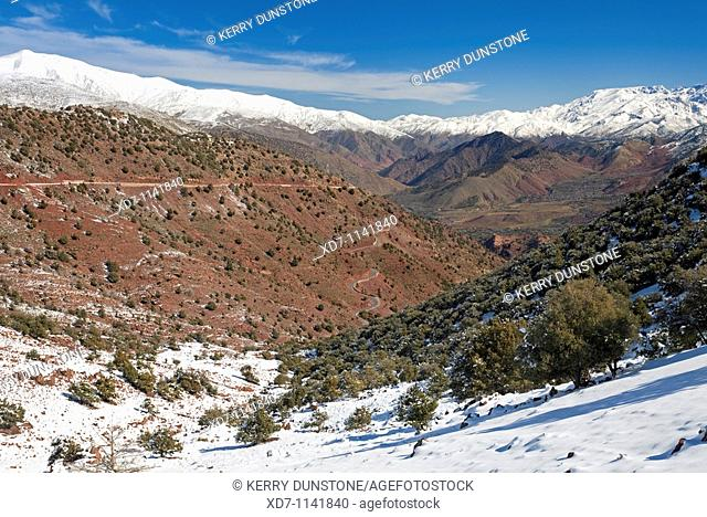 Morocco High Atlas Mountains Views of Oued Nfiss from near Tizi-n-Test Pass