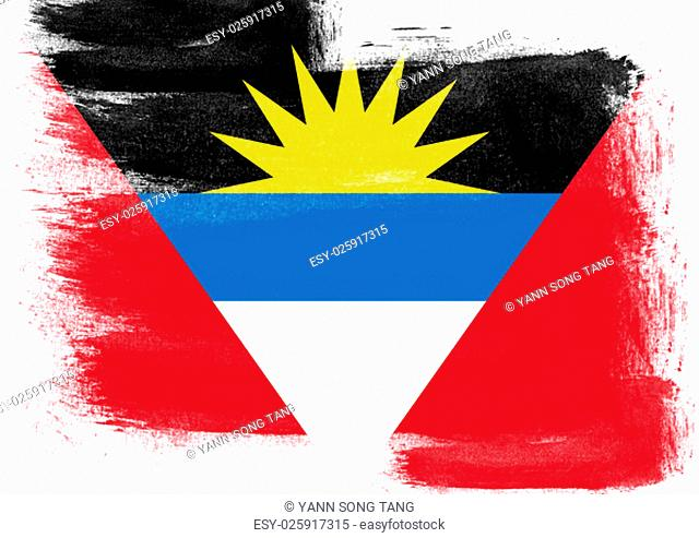 Flag of Antigua and Barbuda painted with brush on solid background