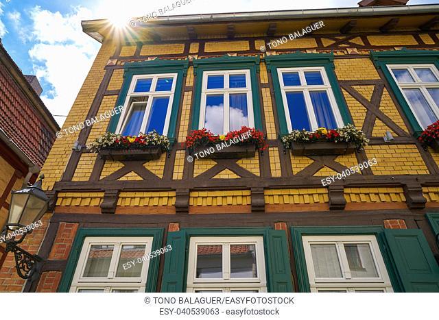 Quedlinburg city facades in Harz of Saxony Anhalt Germany