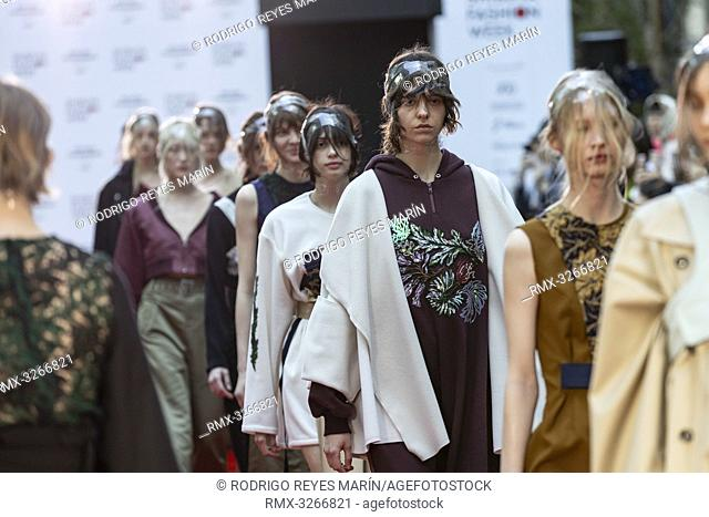 March 21, 2019, Tokyo, Japan - Models wearing fashion brand 'SHIROMA' walk down a street runway for the Shibuya Runway fashion show as part of the Shibuya...