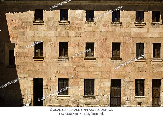 Wall of ancient Salamanca University full of ''vitors''. A vitor is a monogram of the letters painted on the wall of the University of Salamanca and other...