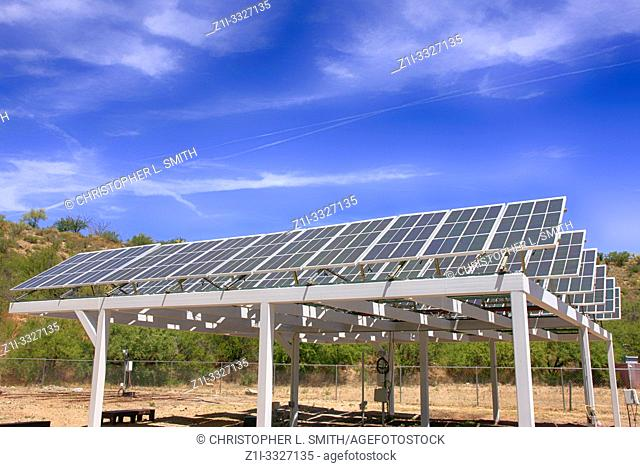 Solar research of Photovoltaic panels at Bisosphere 2, the American Earth system science research facility located in Oracle, AZ