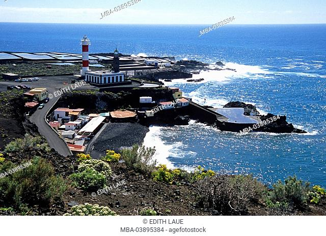 Spain, Canaries, La Palma, Fuencaliente, Playa de Faro, Salinen, lighthouses, overview, vacation-island, vacation-island, destination, tourism, vacation