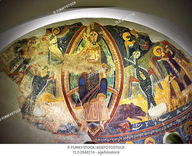 Second half of the twelfth Century Romanesque frescoes of the Apse dâ. . Esterri de Cardos depicting Christ Pantocrator. The church of Sant Pau dâ