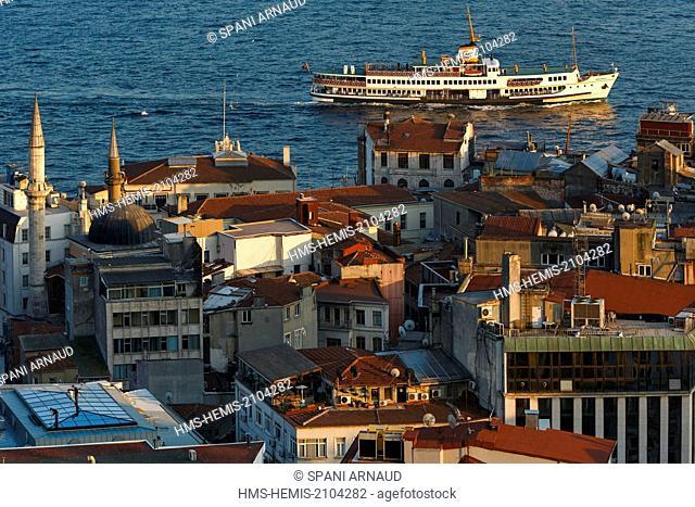 Turkey, Istanbul, Bosphorus strait, ferry sailing on the Bosphorus Strait at sunset