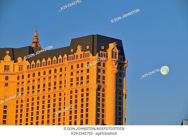 Paris Las Vegas hotel at dawn with setting moon, Las Vegas, Nevada, USA