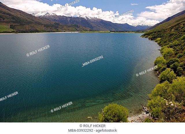 New Zealand, South-island, Central Otago, lake Wanaka, destination, landscape, nature, lake, Wannake-Lake, view, shore, vegetation, nature, heaven, clouds