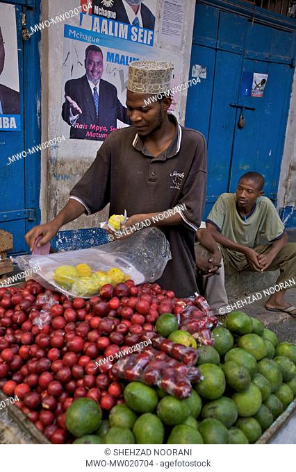 A man sells fruits at the ancient Stone Town of Zanzibar, in Tanzania December 24, 2008