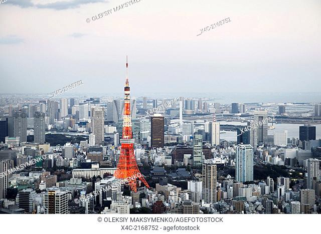 Tokyo Tower in city landscape aerial view. Tokyo, Japan