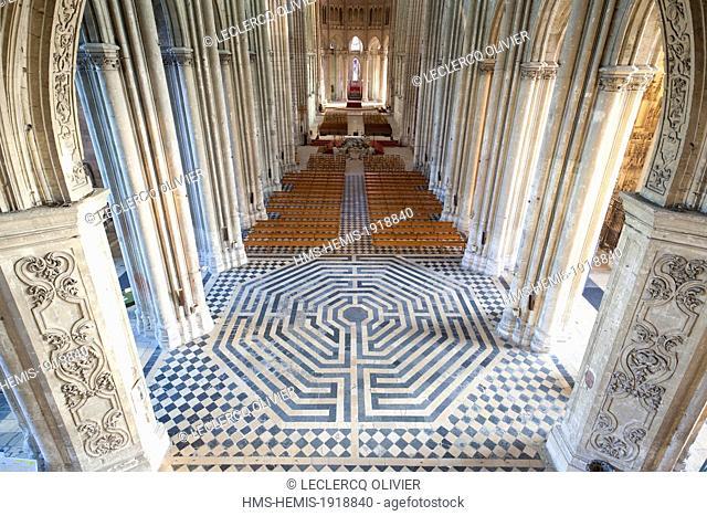 France, Aisne, Saint Quentin, labyrinth of Saint Quentin Basilica
