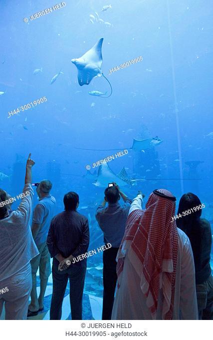 United Arab Emirates, Dubai, Atlantis Hotel, The Palm Jumeirah, Visitors watching the Aquarium, Manta stingray, whale