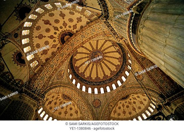 Decorative ceilings inside the Sultan Ahmed Mosque Blue Mosque, Istanbul, Turkey