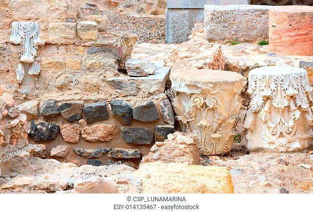 Columns in Cartagena Roman Amphitheater Spain