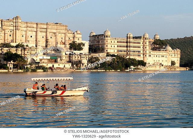 Udaipur City Palace with Tourist Boat
