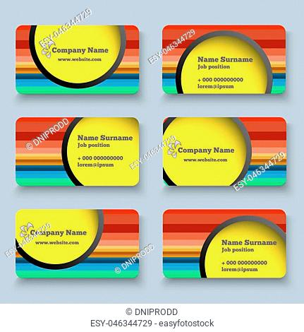 Set of Multicolor Vector Business Card Design