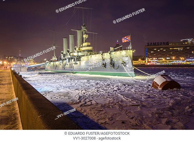 Armoured cruiser Aurora which started russian revolution in 1917 St Petersburg Russia