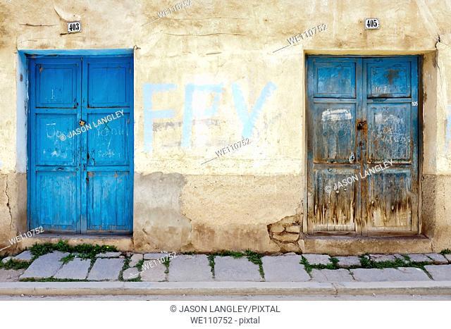 Old blue wooden doors, Copacabana, La Paz Department, Bolivia