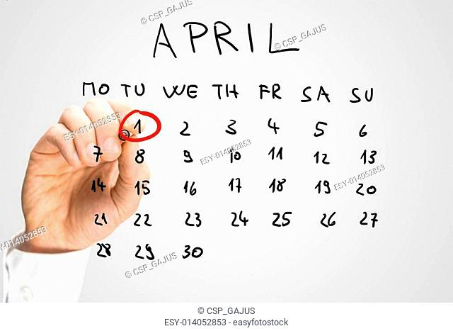 Hand drawn April calendar with the First ringed