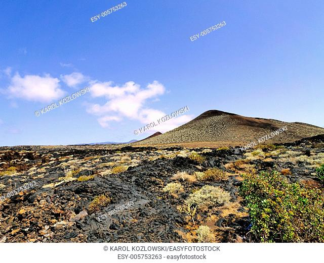 La Restinga - port town with its volcanic landscape on Hierro, Canary Islands, Spain