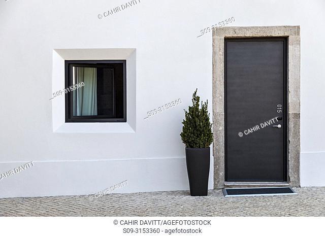 Room entrance door of the contemporary architecture of the Pousada de Cascais - Cidadela Historic Hotel, Cascais, Abuxarda, Lisbon, Lisboa, Portugal