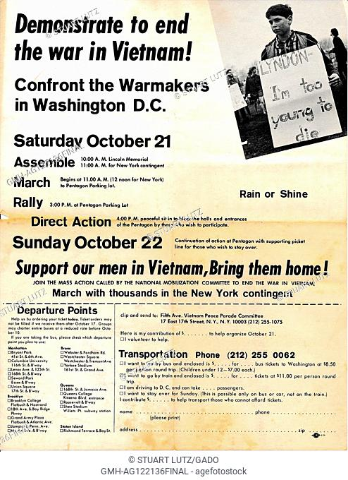 "A Vietnam War era leaflet from the Fifth Avenue Vietnam Peace Parade Committee titled """"Demonstrate to end the war in Vietnam!"""" advocating that readers attend..."