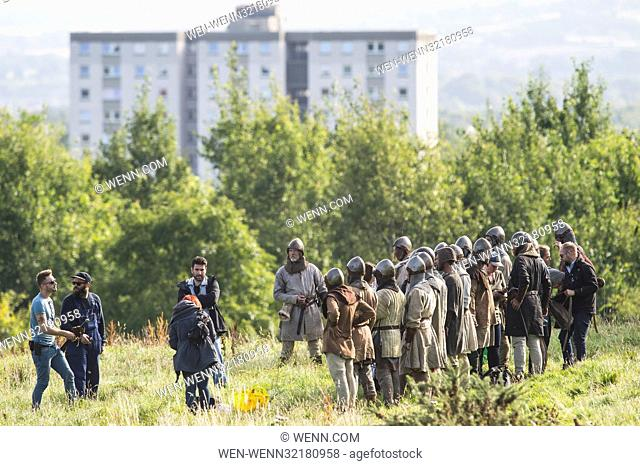 Extras and film crew take over a castle in Edinburgh for the filming of the movie 'Outlaw King' Featuring: Extras in costume Where: Edinburgh