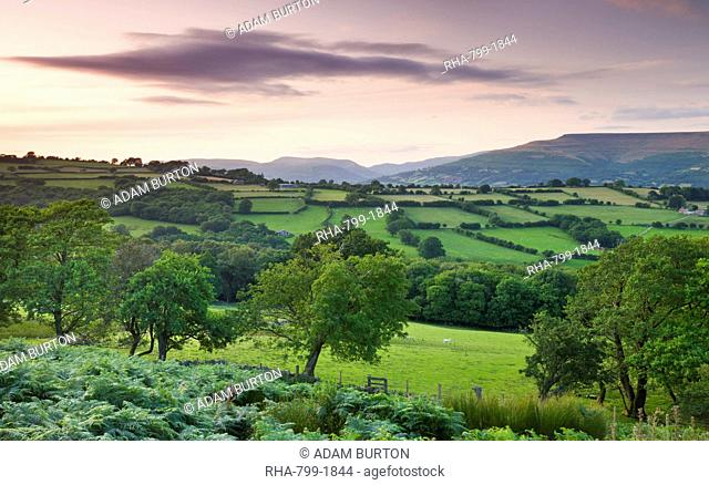 Rolling countryside at twilight, Brecon Beacons National Park, Powys, Wales, United Kingdom, Europe